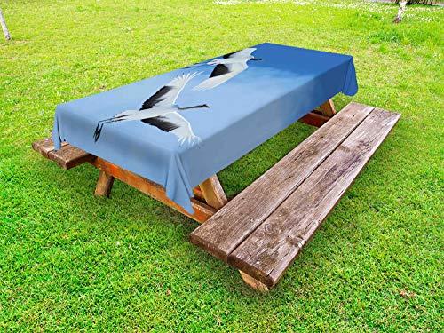 ABAKUHAUS Vogel Tafelkleed voor Buitengebruik, Red Crowned Cranes Japan, Decoratief Wasbaar Tafelkleed voor Picknicktafel, 58 x 104 cm, Blauw Wit Zwart