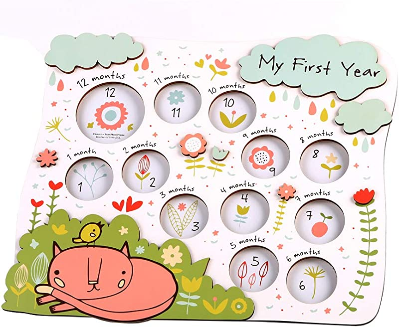 Flower My First Year Photo Frame Baby Photo Frame Baby Picture Frames First Year Picture Frame
