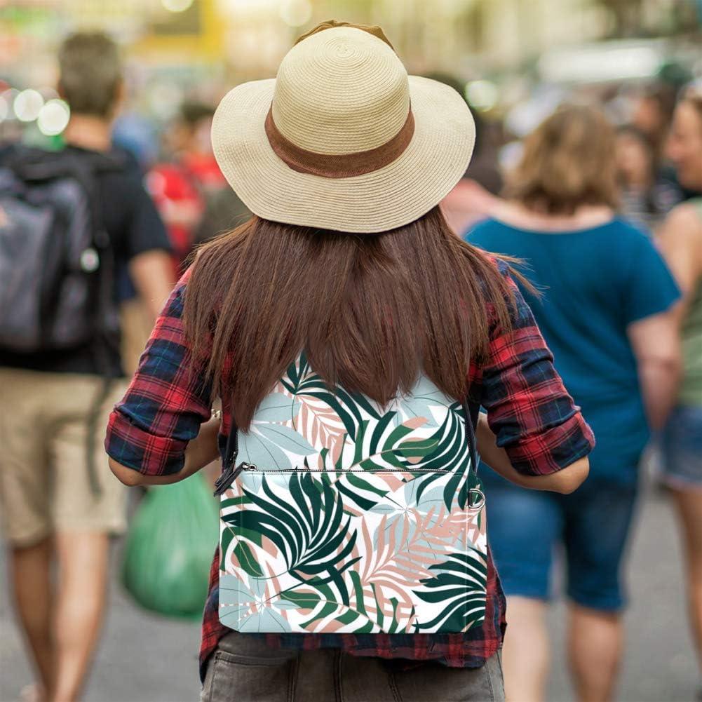 Tizorax Sac à dos en cuir avec feuilles de palmier pour homme, femme, fille, garçon, sac de voyage Motif 3 14.5x12.5x5.9in Motif 2