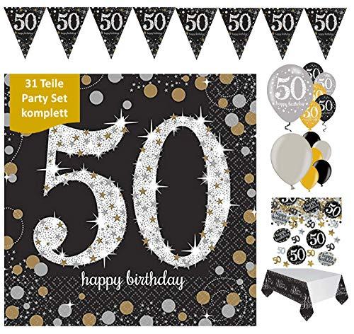 Feestelijke feesten verjaardagsdecoratie 50e verjaardag 31 delen Decorset luchtballon wimpel slinger confetti servet tafelkleed goud zwart zilver metallic party-set