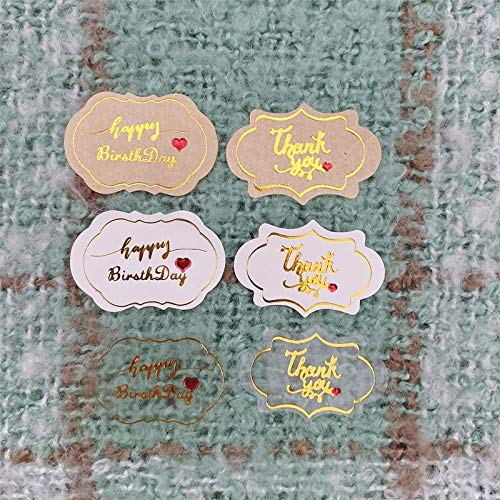 120 Pcs/lot Thank you happy birthday Self Adhesive Kraft Cloud shape Seal Kraft Baking Seal Sticker Gift Stickers