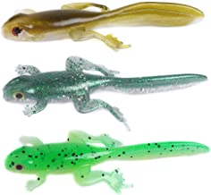 Dr.Fish 6 Pack 3.2 inch Freshwater Frog Fishing Lures Soft Plastic Swimbait Tadpole Lizard Perch Bass Walleye Shad Drop Shot