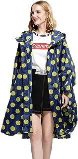 SogetsuYo Womens Stylish Hooded Waterproof Raincoat with Zipper Outdoor Rain Jacket Poncho