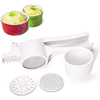 Livingfun Potato Ricer, Fruit and Vegetables Masher Food Ricer Large Capacity with 3 Interchangeable Discs for Fine to Coarse Professional Baby Food Strainer and Press with Ergonomic Comfort Grip