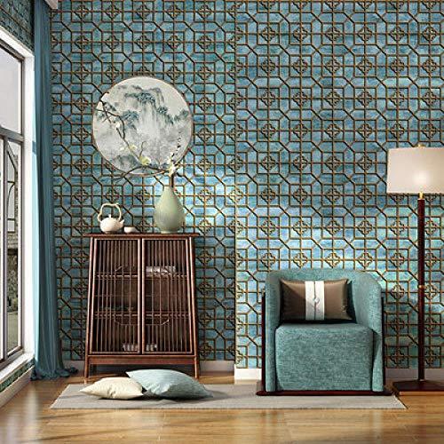 ACCEY Moderne chinesische Art-geometrische Gitter-Tapete für Restaurant-Tee-Haus-Raum-Wände Scherenschnitt-Fenster-Tapete papel de pared-774003_9.5mx53cm