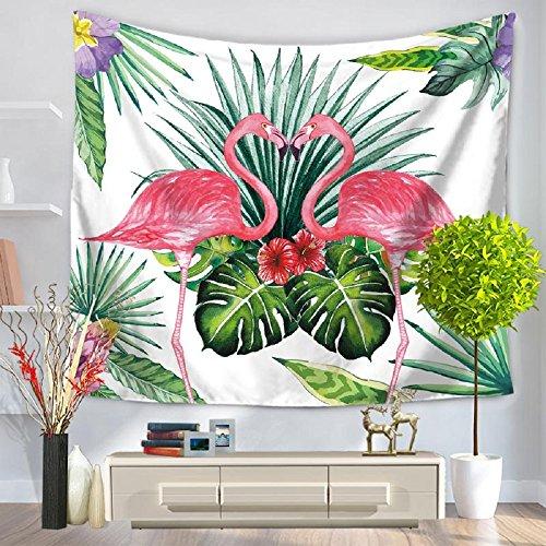 izielad Flamant Rose des Animaux Nature Plantes Tropicales Banane Feuille de Palmier Vert Flamant Rouge d'oiseau Animal Tapisserie Murale