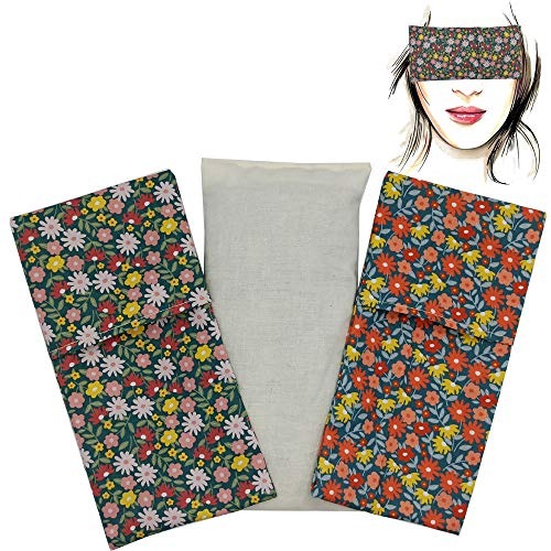 Almohada para los ojos'Pack Duo Flua' (1 relleno y 2 fundas lavables)   Semillas de Lavanda y semillas de arroz   Yoga, Meditación, Relajación, descanso de ojos.