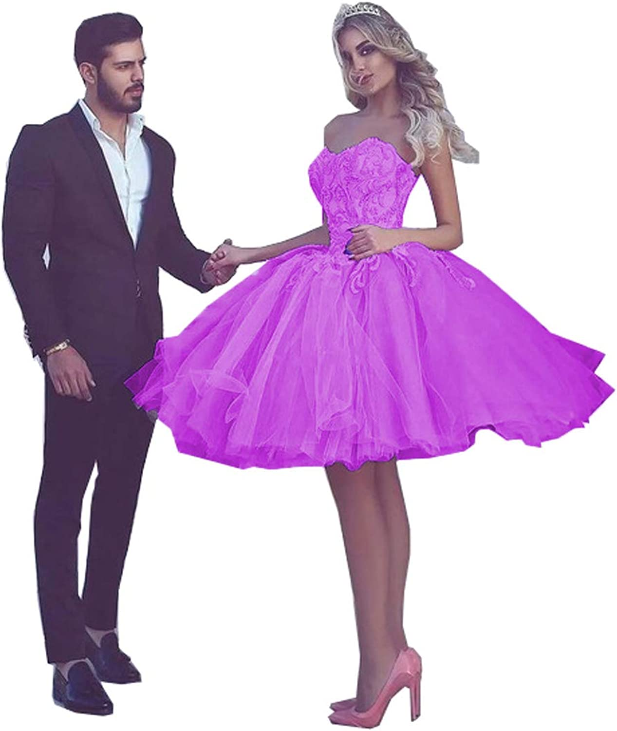 MariRobe Women's Lace Appqiue Beaded Prom Gowns Short Homecoming Dresses Cocktail Dresses Wedding Dress