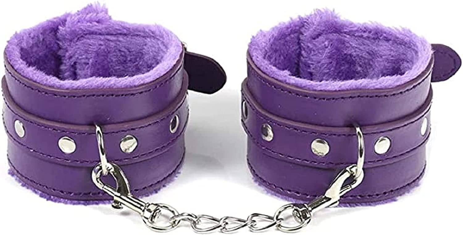 Pingyongchang Leather Wrist Handcuffs Bracelet Leg Ankle Fluffy Cuffs with Cute Lock Detachable Adjustable Leash Chain for Women Party Costume Jewelry Gift Winter
