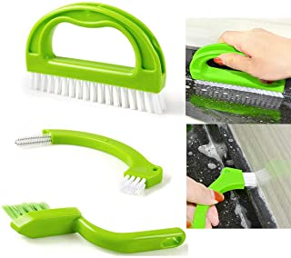 Green 3 in 1 Tile Grout Cleaning Brush Mould Remover Narrow Stiff Stain Cleaner