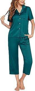 Ekouaer Women Pajamas Silk Satin Pajamas Set Short Sleeve Top and Capri Pants Button Down Sleepwear Soft Pj Lounge Sets Ni...