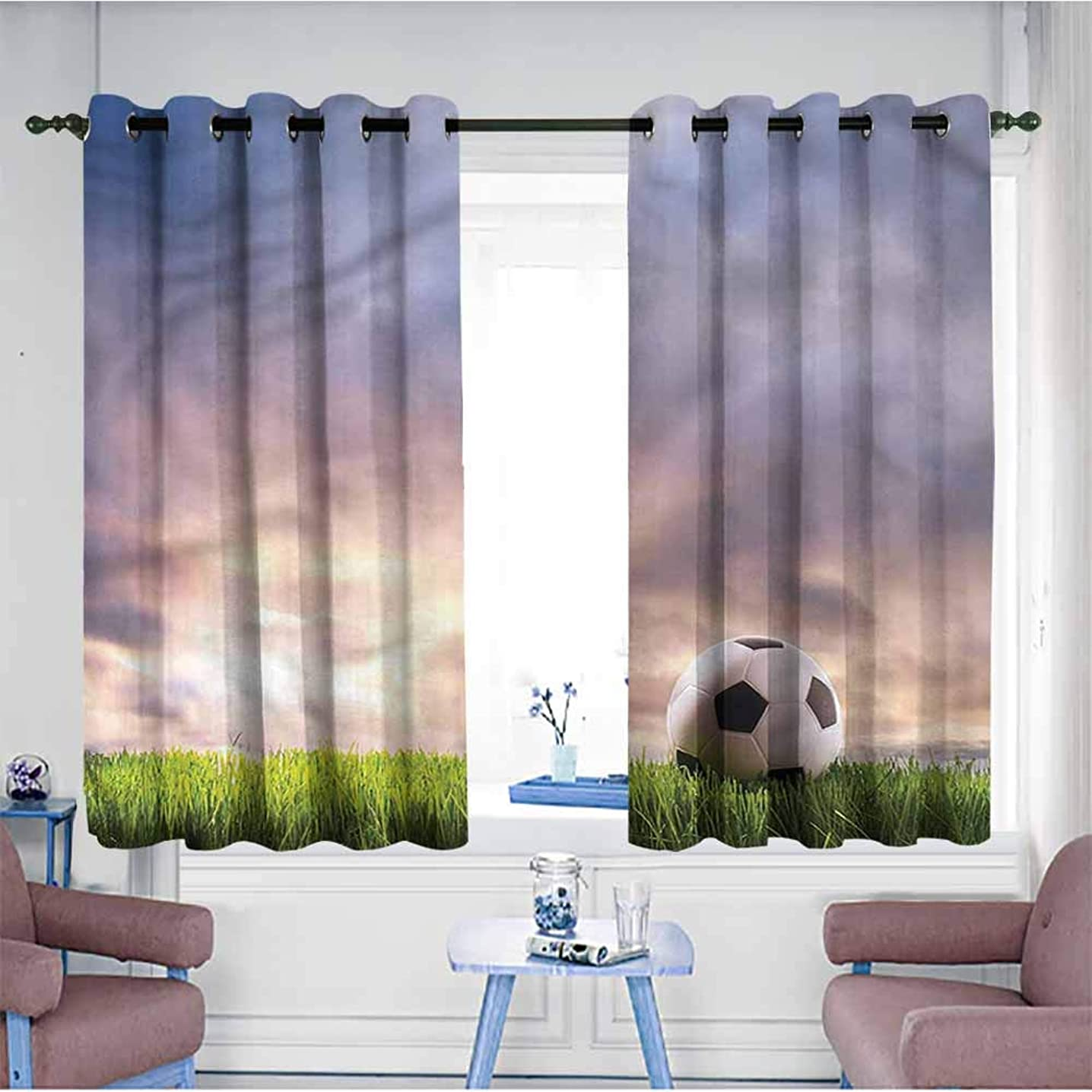 Kids Curtains,Sports Soccer Ball on Green Grass,for Bedroom Grommet Drapes,W55x63L