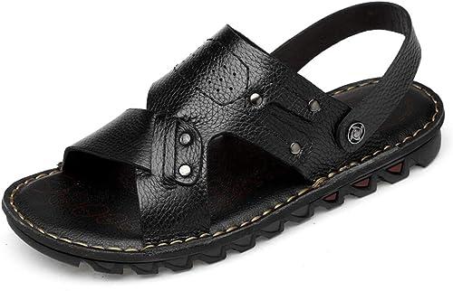 Sandales paniers et Chaussures de Plein air en Cuir pour pour pour Hommes avec des Sandales à Bout Ouvert Pantoufles Sandales (Couleur   Noir, Taille   47 EU) 4b7
