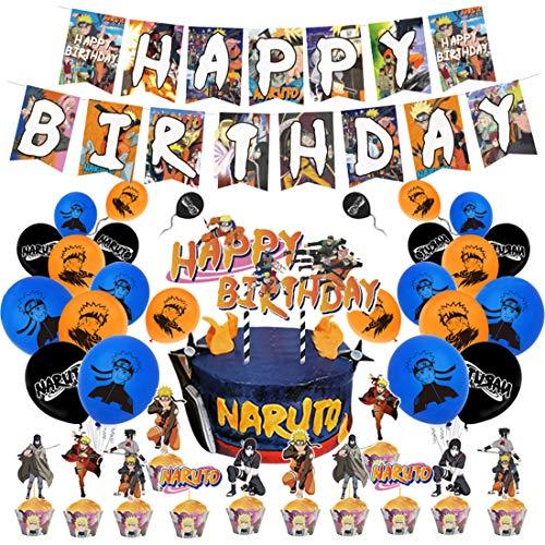 Naruto Geburtstag Dekoration - YUESEN Naruto Birthday Party Dekorations für Kinder Ballon Geburtstags Deko,Banner Zubehör,Cake Topper Birthday Dekoration Zubehör Set for Boy, Girl, Child (46pcs)
