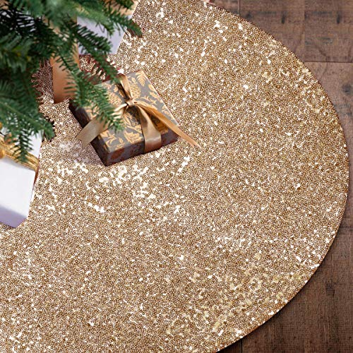 yuboo Gold Tree Skirt 48quot Sequin Double Layers Gold Decorations for Performance Birthday Party and Wedding