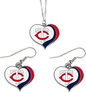 aminco Minnesota Twins MLB Sports Team Logo Charm Gift Glitter Heart Necklace and Earring Set