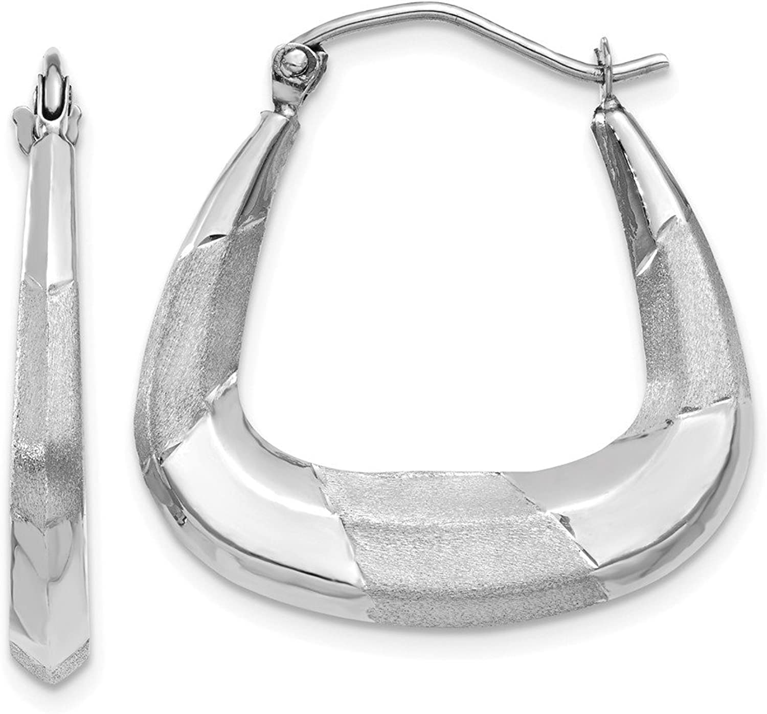 Beautiful White gold 14K 14k White gold Polished, Satin and Diamondcut Hoop Earrings