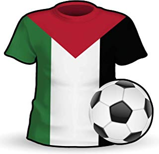 Makoroni - PALESTINE T Shirt & Soccerball Shape Country Flag National Soccer Team Sticker Car Laptop Wall Decal 4'x4'(Small) or 6'x6'(Large)