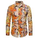Zestion Herren Retro Langarmhemd Blumendruck Slim Fit Bequemes europäisches und amerikanisches...