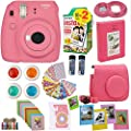 Fujifilm Instax Mini 9 Instant Camera Flamingo Pink + Fuji Instax Film Twin Pack (20PK) + Camera Case + Frames + Photo Album + 4 Color Filters and More Top Accessories Bundle from abesons
