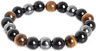 Tiger Eye & Hematite & Black Obsidian 10mm Beaded Bracelet Buddha Healing Rope Man Stone Uni