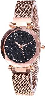 Lilon - Orologio da donna alla moda, con motivo cielo stellato, con fibbia magnetica, quadrante al quarzo, cinturino con d...