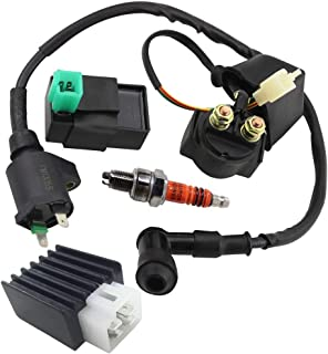 Ignition Coil Solenoid Relay Voltage Regulator 5-PIN CDI Box Spark Plug for 50cc 70cc 90cc 110cc 125cc ATV Go Kart Dirt Bike Pit Bike by TOPEMAI