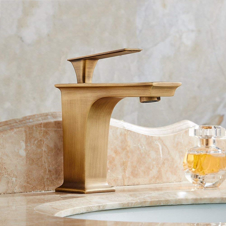 Oudan Faucet copper hot and cold faucet bathroom faucet basin single hole faucet square retro faucet ceramic disc spool short (color   Low)
