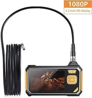 Endoscopio Industrial 5m Full HD 1080P Cámara de Inspección con Tarjetas MicroSD 8GB Pantalla LCD a Color de 4.3 Pulgadas USB Recargable Impermeable IPX67 6 Luces LED 8MM Diámetro para Reparar