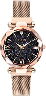Jechin Fashion Women's Rose Gold Magnetic Buckle Bling Bling Starry Sky Watch with Mesh Steel Watches Band