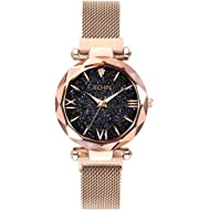 Jechin Fashion Women's Rose Gold Magnetic Buckle Bling Bling Starry Sky Watch with Mesh Steel...