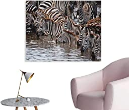 Anzhutwelve Wildlife Wall Picture Decoration Herd of Zebras and Wildebeest Drinking Water in Serengeti Tanzania Picture Poster Print Brown Black White W28 xL20