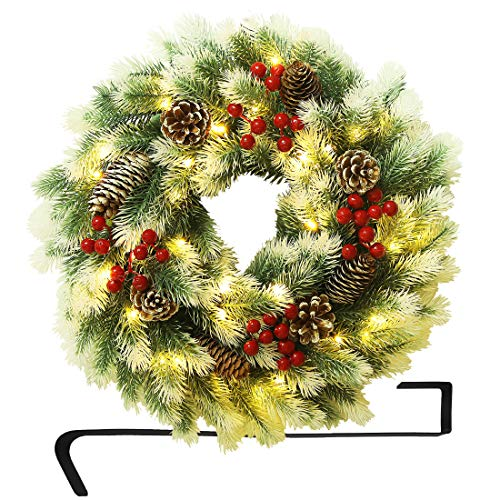ATDAWN 16 Inch Christmas Wreath, Outdoor Lighted Christmas Wreath for Front Door, Xmas Wreath for Winter Holiday Christmas Party Decorations