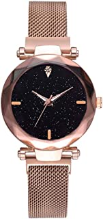 CRYSTALS NewLuxury Magnet Rose Gold Analogue Stainless Steel Mesh Belt Fashion Watches for Girl's & Women's
