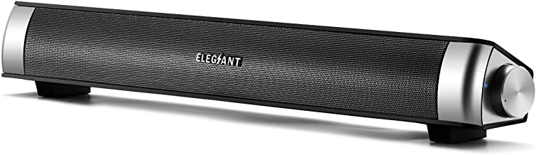 ELEGIANT USB Powered Sound Bar Speakers for Computer Desktop Laptop PC, Black