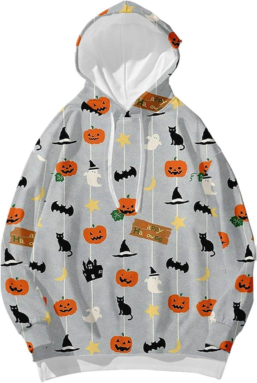 Halloween Pullover for Women Cute Cat Hoodie Long Sleeve 3D Graphic Print Fleece Sweatshirts with Drawstring