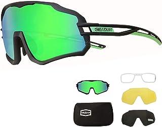 BRZSACR Gafas de Ciclismo Polarizadas con 3 Lentes Intercambiables gafas mtb gafas deportivas hombre Mujeres UV 400 Anti Viento para ciclismo, conducir, correr