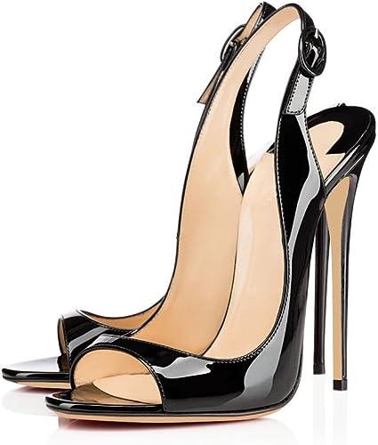 Kolnoo 12cm Peep Toe Stiletto Damenschuhe Sandalen Slingback High Heel Schnalle Schuhe Größe Größe