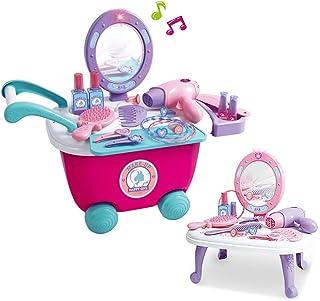 Maquillage Ensemble de Jeu de Beauté Coiffeuse et Miroir Jouets d'Imitation Coiffeuse et Miroir pour Fille Enfant 3 4 5 6 ...
