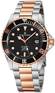Revue Thommen Mens Diver Watch Automatic Sapphire Crystal - Analog Black Face Two Tone Metal Band Stainless Steel Dive Watch Swiss Made - Self Winding Cool Watch Waterproof 300 Meters 17571.2157