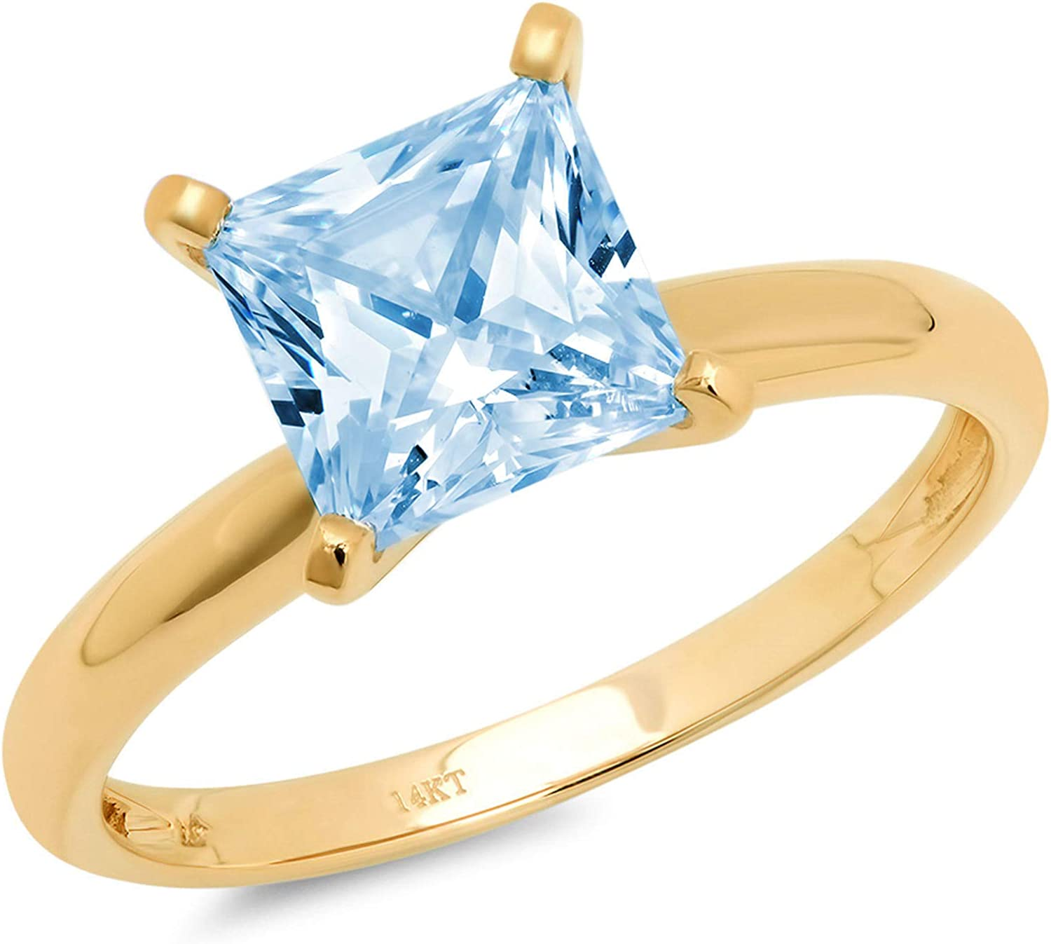 2.50ct Brilliant Princess Cut Solitaire Aquamarine Blue Simulated Diamond CZ Excellent VVS1 D 4-Prong Engagement Wedding Bridal Promise Anniversary Ring Solid Real 14k Yellow Gold for Women