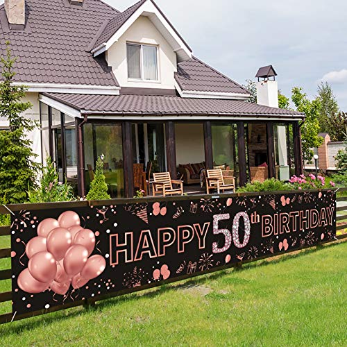 Pimvimcim Happy 50th Birthday Banner Decorations - Rose Gold Large 50th Birthday Party Sign - 50th Birthday Party Decorations Supplies for Women - 50 Years Old Birthday Photo Booth Backdrop(9.8x1.6ft)
