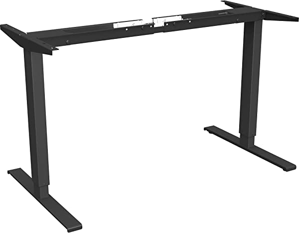 Lorell LLR25944 Quadro Workstation Sit To Stand 2 Tier Table Base Black