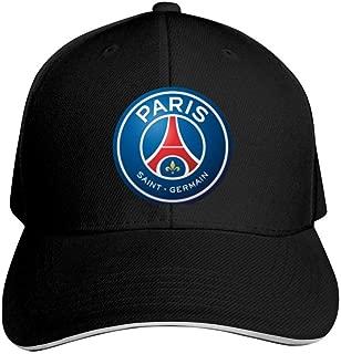 GGHAT Paris Saint-Germain Club Logo Adjustable Hat Cool Hat Men Women's Walking Running Cycling Golf Black ONE Size