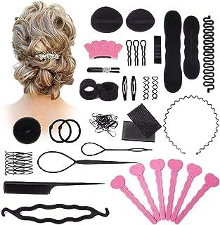 Hair Styling Set Kit, 20PCS Hair Styling Kit For Women Topsy Tail Hair Tools Haircut Clamp Women Girls Hair Bun Clip Maker Pads Hairpins Roller Braid Twist Sponge Hair Accessories for Hair Styles