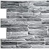 Dundee Deco PG7013 Dark Grey Faux Slate, 3.2 ft x 1.6 ft, PVC 3D Wall Panel, Interior Design Wall Paneling Decor, 5.3 sq. ft.