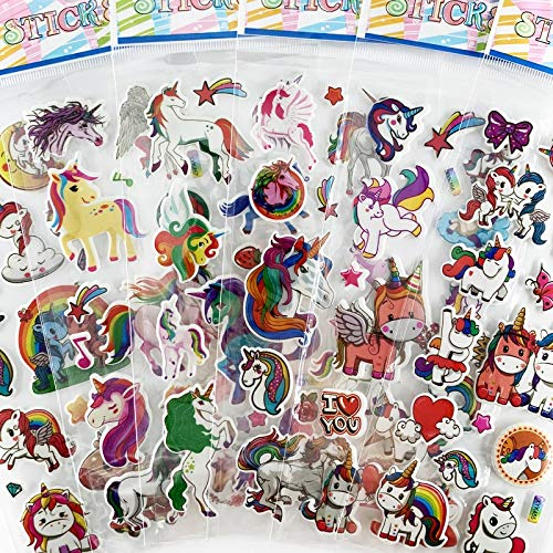 6 Sheets/set 3D Cartoon Stickers Waterproof Bubble PVC Cute Unicorn Sticker Toy For Kids Girls Boys Gift