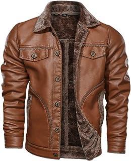 GUOCU Men's Leather Jackets Full Zip Biker Bomber Winter Jacket Casual Windbreaker Coat Vintage Distressed Leather Jacket