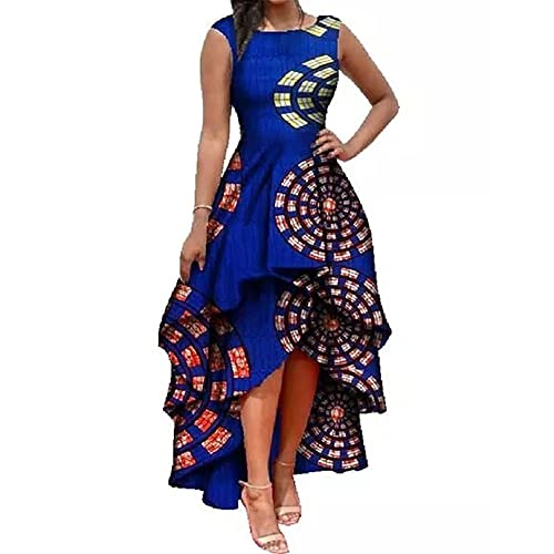 50a83f83b86 Runcati Womens African Dress Formal Prom Dashiki Print Sleeveless Peplum  Fit and Flare Midi High Low