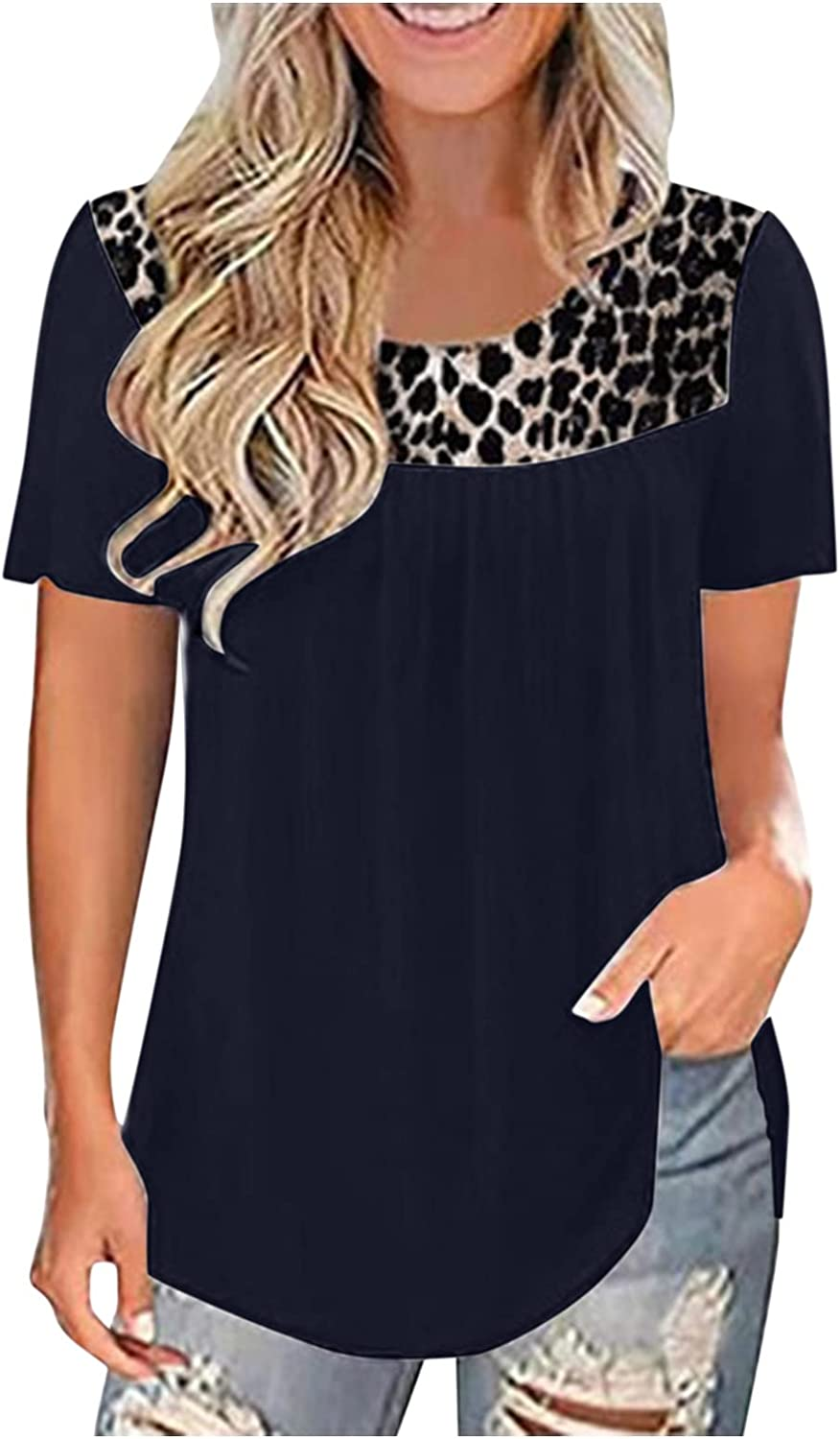 AODONG Short Sleeve Tops for Women, Women's Summer Tops Plus Size Lace Pleated Shirts Casual Loose Blouses Tunic Tops